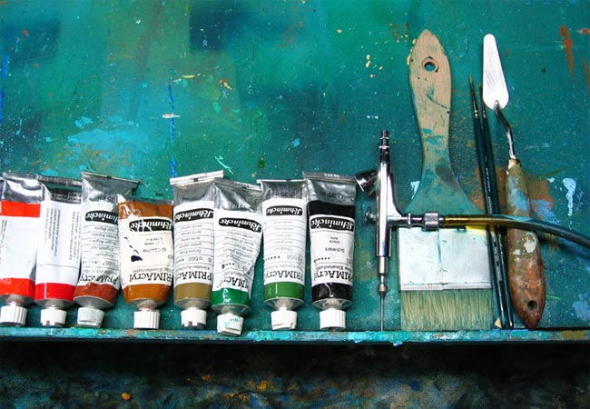 Photo: Palette of acrylic paint