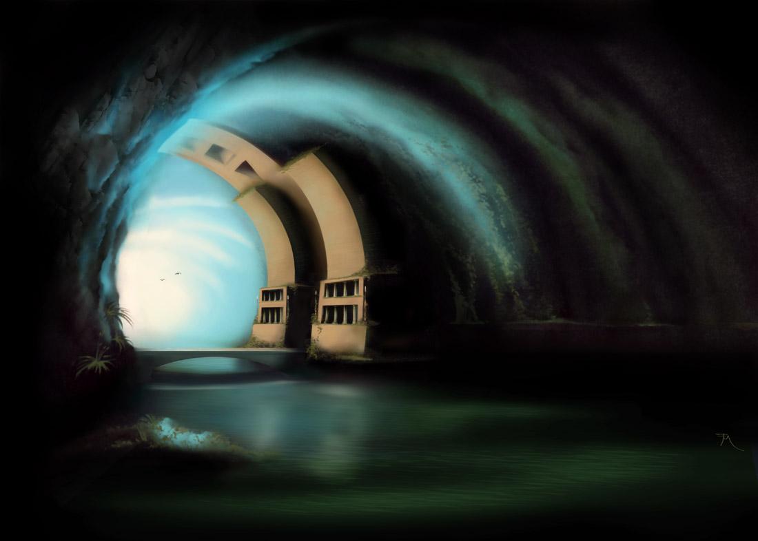 Underground Cave Water Underground Cave Lake Bridge