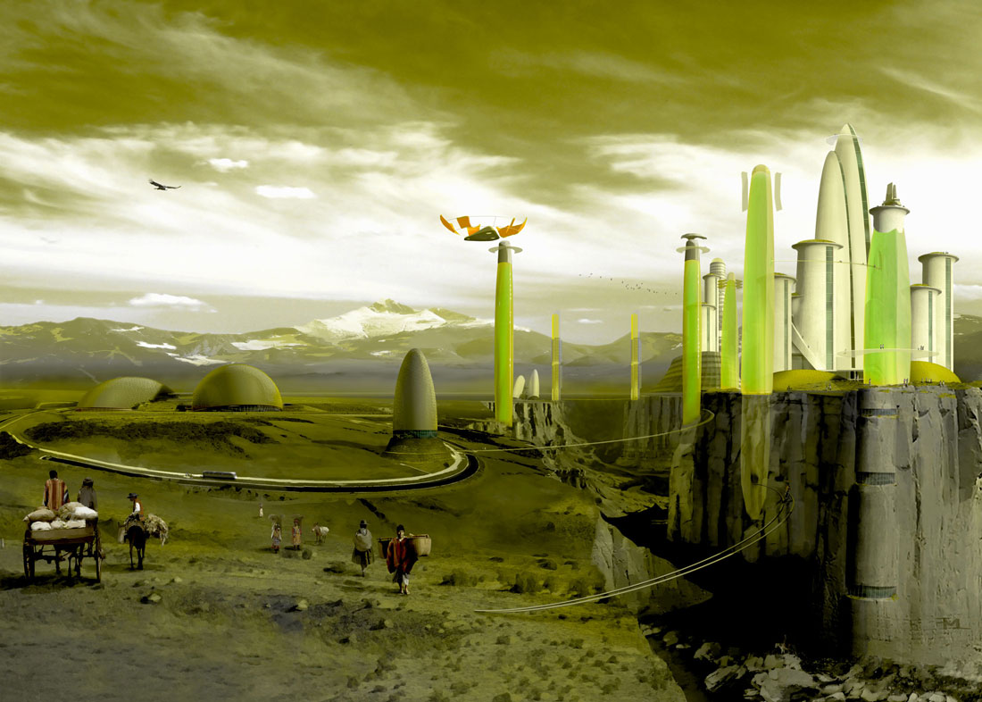 digital painting, green towers of glass, the alien city in the Rocky Mountains