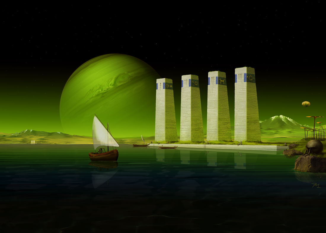 diskwood and alien creature, sailing boat on lake, space art with green sky and gas giant rising