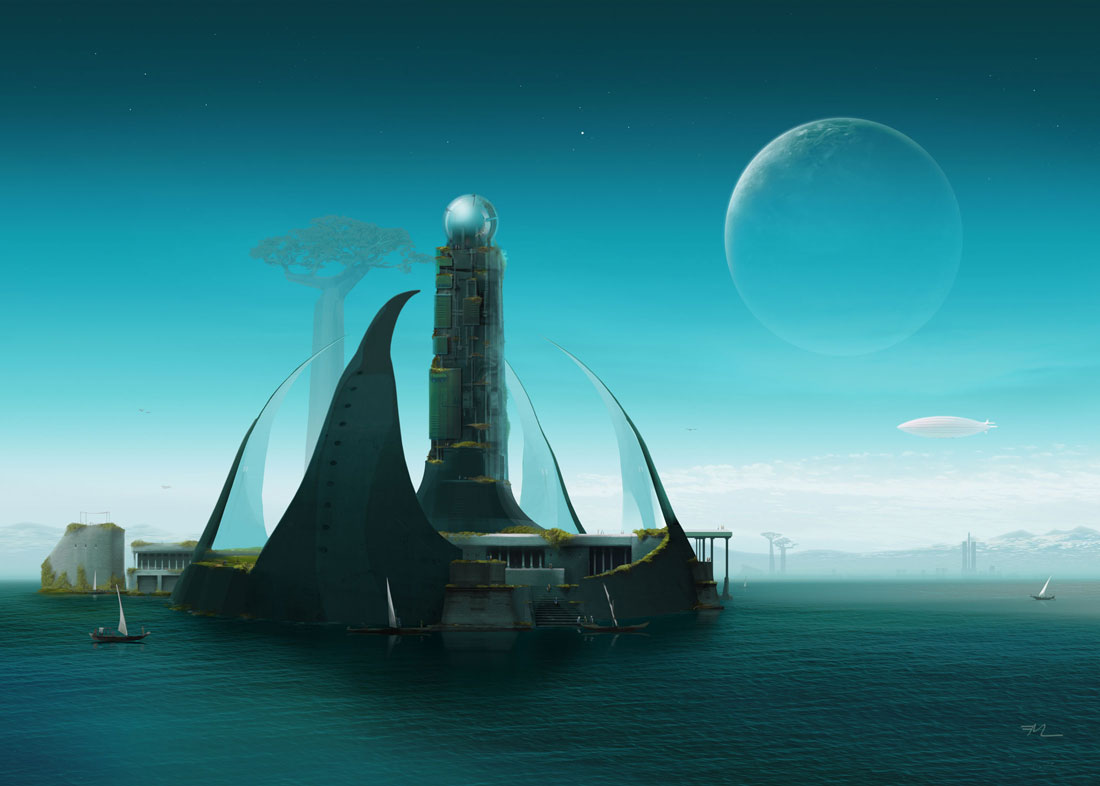 Castle on waterfront with airship, sailing boats, planet rising above blue scifi-landscape