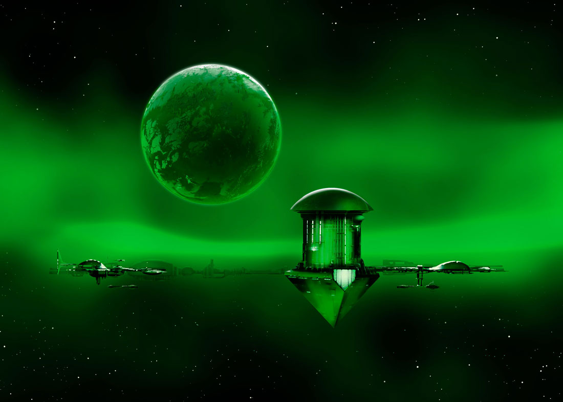 Digital painting with planet bathed in lurid green plasma nebula, space station and spaceships docking.